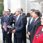 JCRC Exec. VP & CEO Michael Miller addresses the press conference sponsored by the Jewish Caucus of the NY City Council.